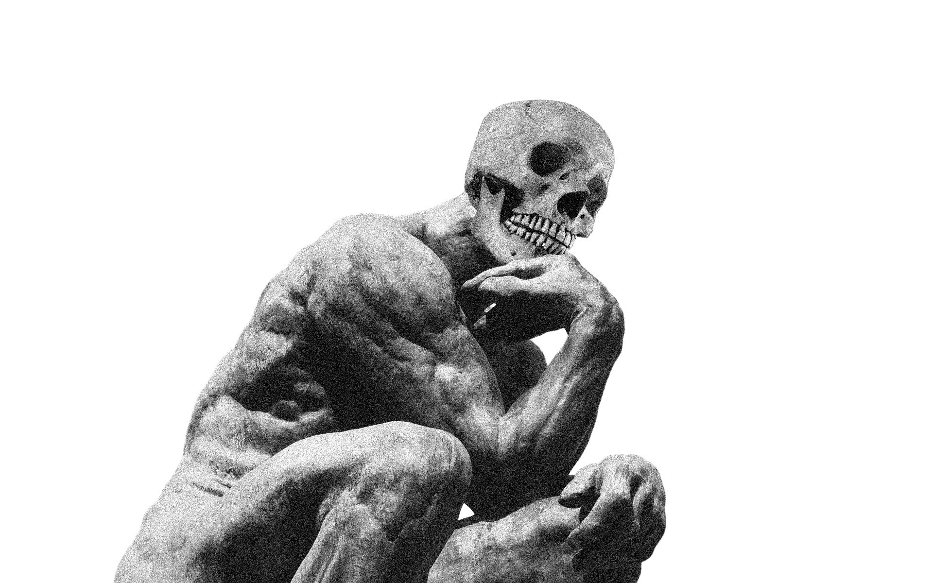 The Famous statue 'Le Penseur' depicted with a skull